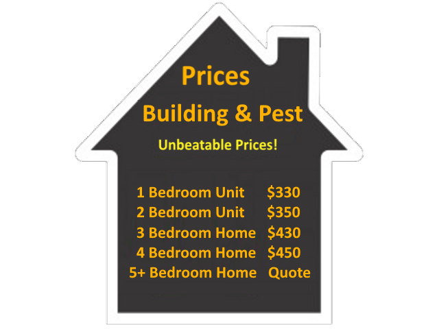 The Building and Pest Inspection Costs are as follows: Price for a 1 Bedroom Unit is $330. Price for a 2 Bedroom Unit is $350. Price for a 3 Bedroom Home is $430. Price for a 4 Bedroom Home is $450. Please call for a quote for a 5 or more Bedroom Home/Unit