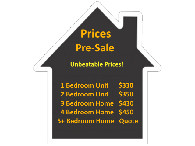 The Pre-Sale Inspection Costs are as follows: Price for a 1 Bedroom Unit is $250. Price for a 2 Bedroom Unit is $300. Price for a 3 Bedroom Home is $350. Price for a 4 Bedroom Home is $400. Please call for a quote for a 5 or more Bedroom Home/Unit